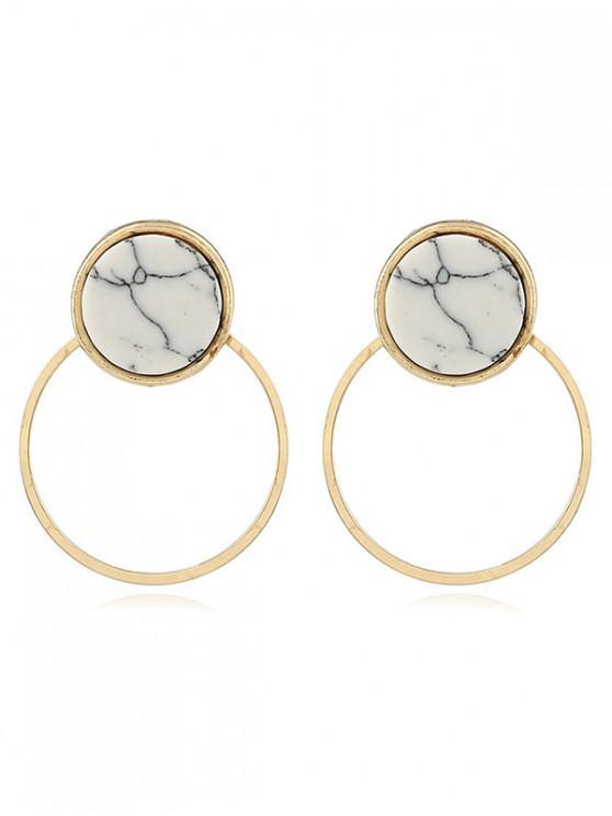 fancy Geometric Hollow Marble Decor Earrings - GOLD