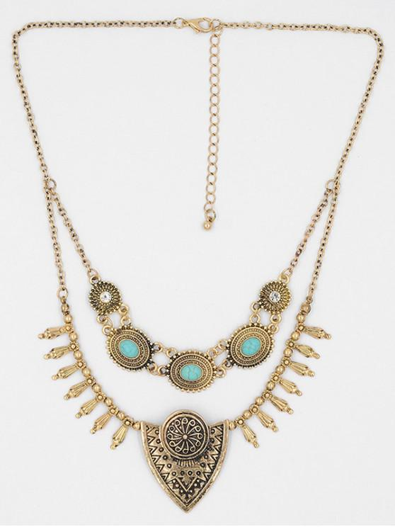 lady Double Layered Metal Boho Sweater Necklace - GOLD