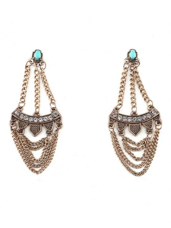 outfits Rhinestone Inlaid Tassel Design Earrings - GOLD