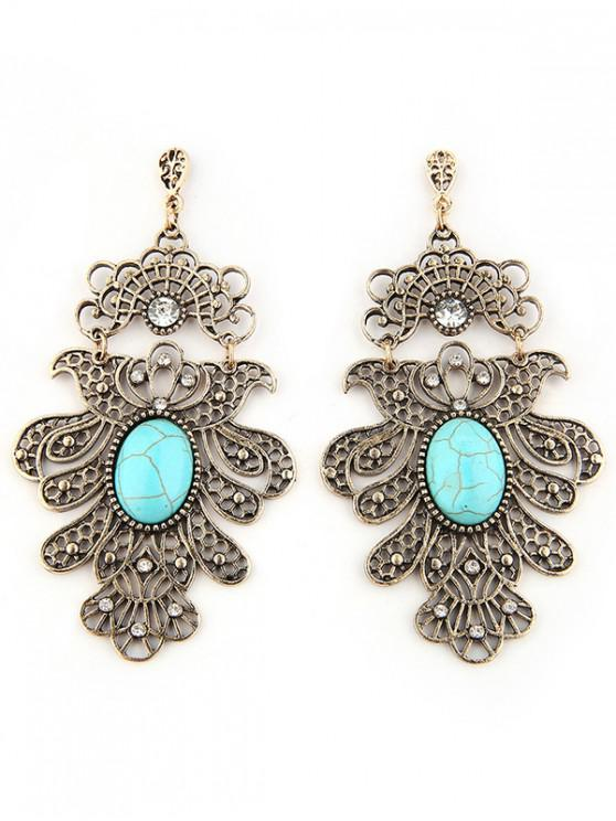chic Artificial Turquoise Floral Design Earrings - GOLD