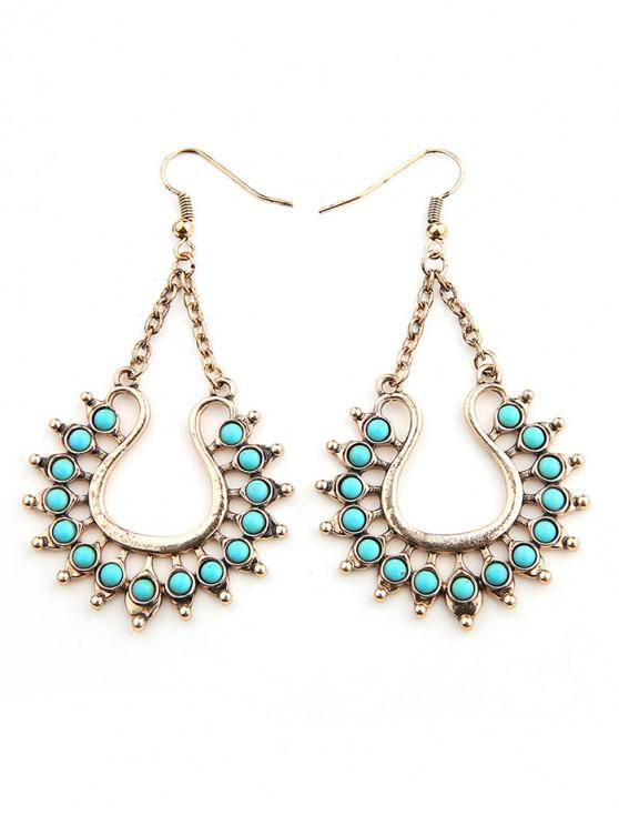 latest Faux Turquoise Decor Geometric Earrings - GOLD