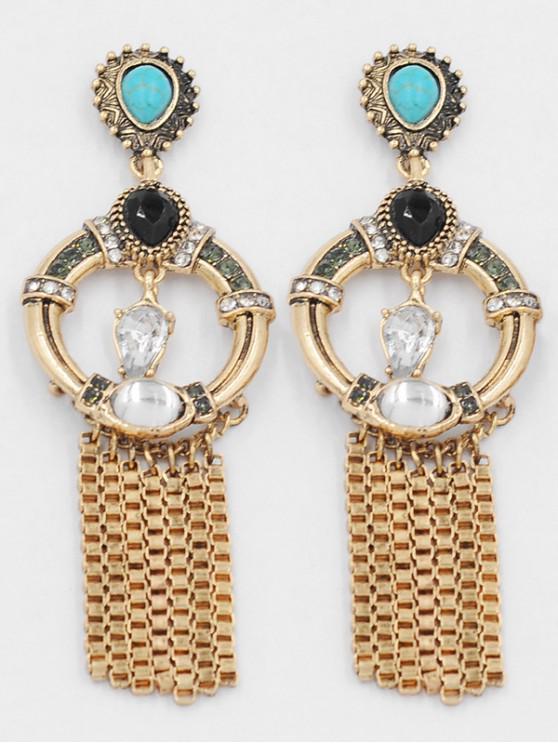 hot Artificial Crystal Tassel Design Earrings - GOLD