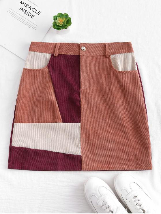 chic Patchwork Corduroy Mini Skirt - MULTI L