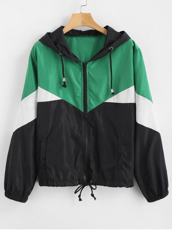 sale Zip Up Color Block Windbreaker Jacket - MULTI XL