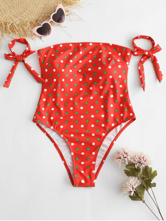 hot ZAFUL Christmas Tie Polka Dot Bandeau Swimsuit - RED S
