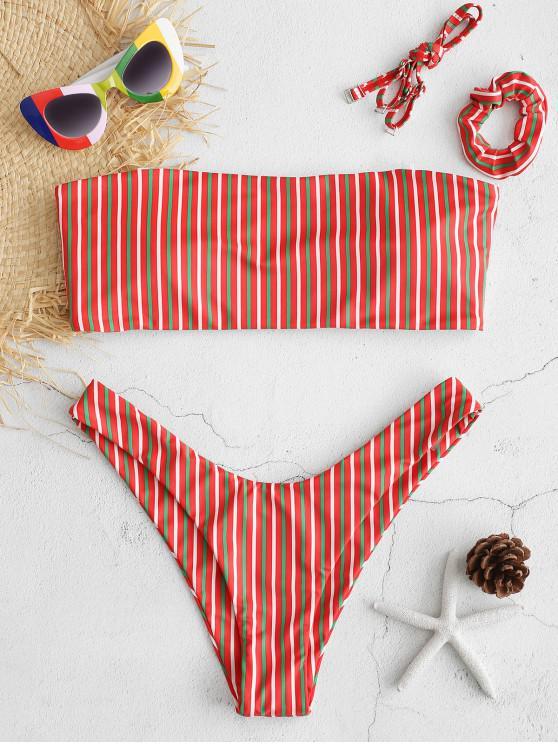 Conjunto de biquíni listrado bandeau ZAFUL com faixa de cabelo - Vermelho L