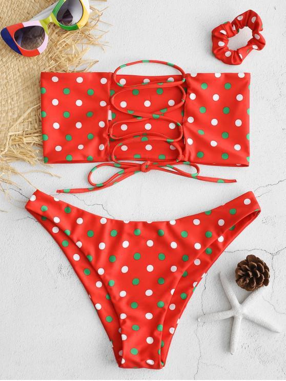 chic ZAFUL Lace-up Polka Dot Bikini with Hair Band - RED L