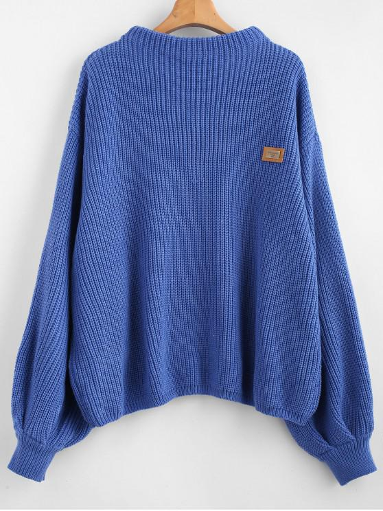 chic ZAFUL Oversized Chevron Patches Pullover Sweater - SILK BLUE ONE SIZE