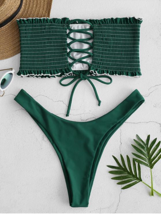 47b4b1dfb72e38 20% OFF  2019 ZAFUL Lace-up Shirred Bandeau Bikini Set In MEDIUM SEA ...