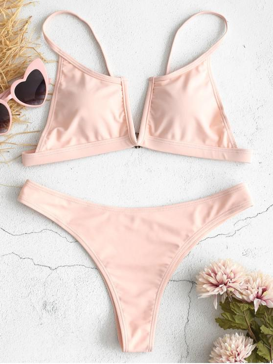 women's ZAFUL V-shaped Wire Bikini Set - SAKURA PINK L