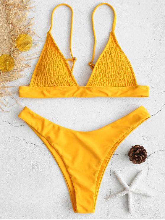 0ca6f259755 22% OFF  2019 ZAFUL Shirred High Cut Bikini Set In MUSTARD