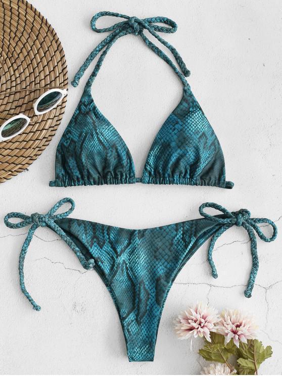 ZAFUL Bikini de Hilo Trenzado con Estampado de Serpiente - Multicolor L