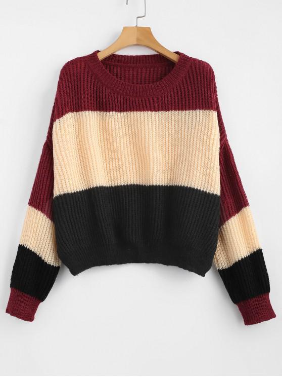 outfits ZAFUL Oversized Stripes Sweater - MULTI-B ONE SIZE