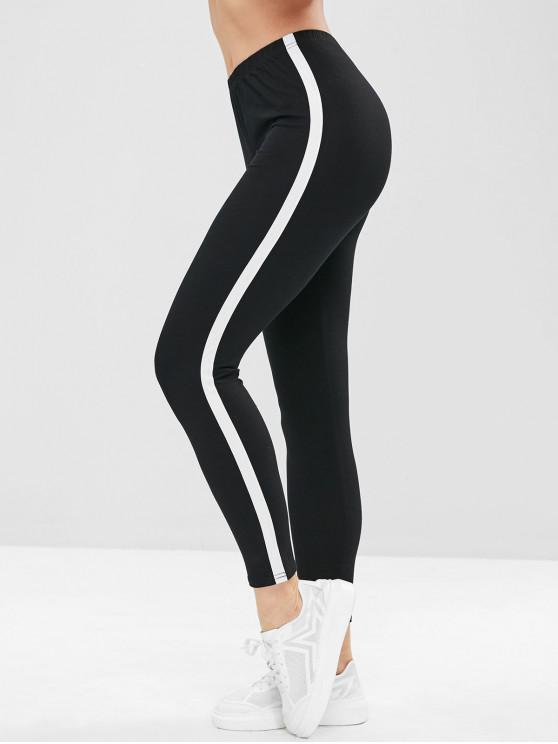 womens Stripe Trim Leggings - BLACK S