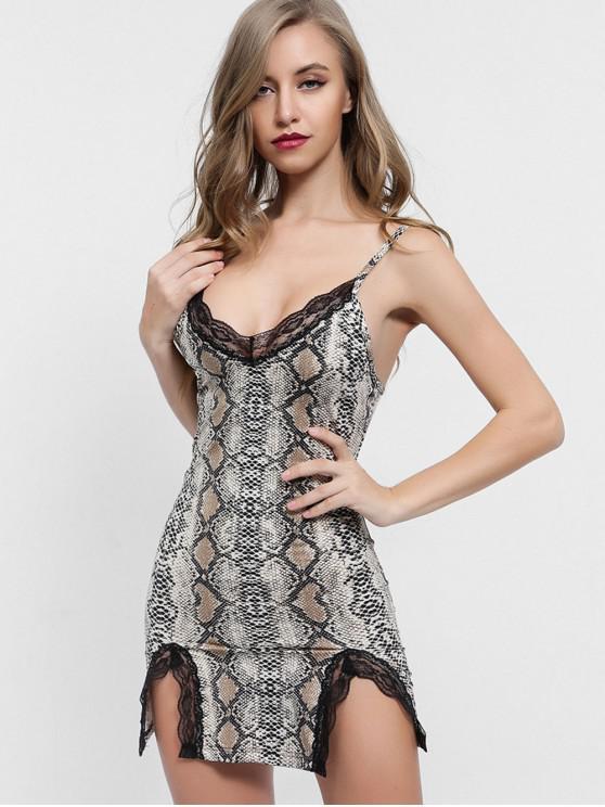 unique Lace Panel Snakeskin Print Cami Dress - MULTI L