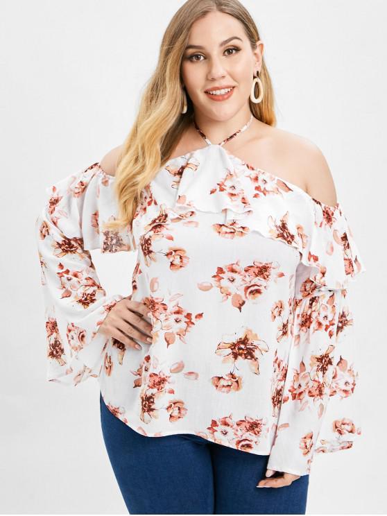 fancy ZAFUL Floral Plus Size Ruffles Blouse - WHITE 2X