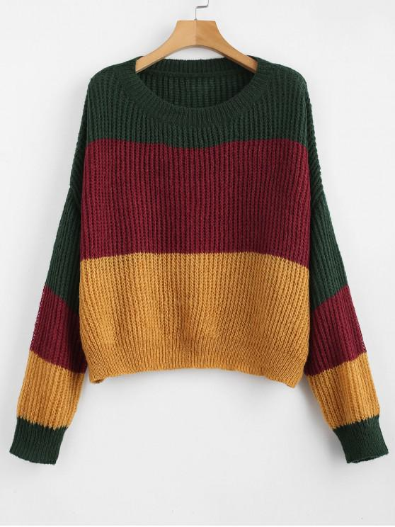 outfit ZAFUL Oversized Stripes Sweater - MULTI-A ONE SIZE