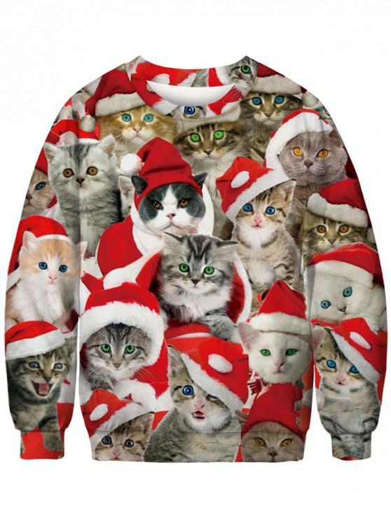 latest Christmas Cats Pattern Crew Neck Sweatshirt - MULTI S
