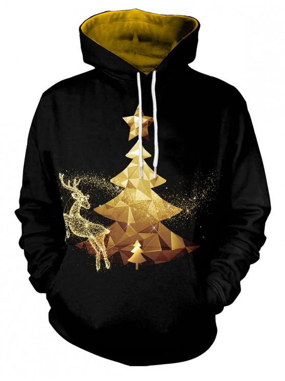 unique Christmas Theme Print Long Sleeve Hoodie - BLACK 2XL
