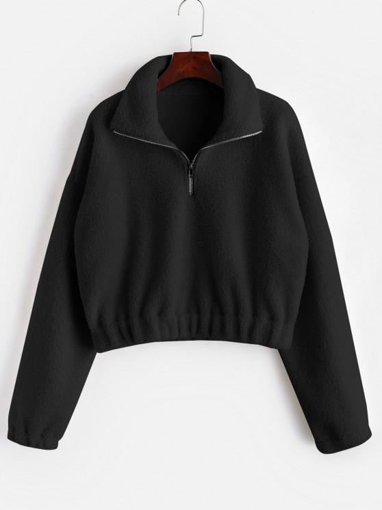 Sweat-shirt Simple à Demi-Zip en Fausse Fourrure - Noir S