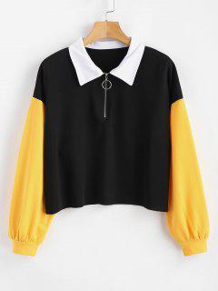 Zip Color Block Raw Hem Sweatshirt - Black L
