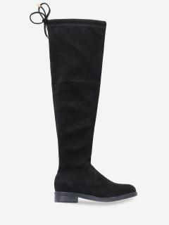 Low Heel Drawstring Over The Knee Boots - Black Eu 37