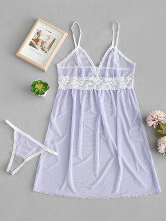 Spitzeneinsatz Sheer Lingerie Dress - Lavendel Blau Xl