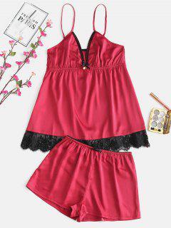 Lace Einsatz Cami Satin Pyjama Set - Lava Rot L