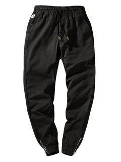 Zip Hem Solid Color Drawstring Waist Jogger Pants - Black Xs