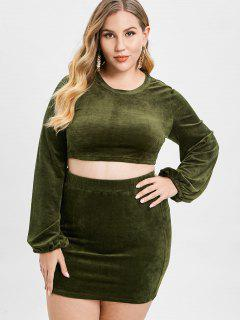 ZAFUL Velvet Plus Size Tee And Skirt Set - Army Green 2x