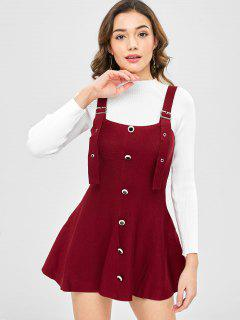 Wide Strap Buckled Pinafore Sweater Skater Dress - Red Wine L