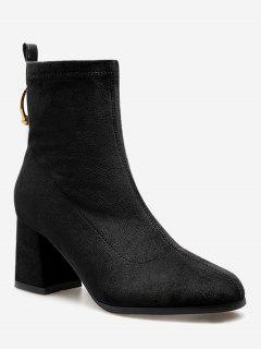 Circle Decorative Chunky Heel Ankle Boots - Black Eu 39