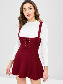 Robe Pull Patineuse à Lacets - Rouge Vineux M