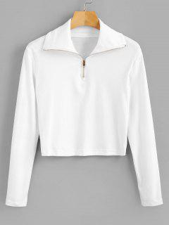 Long Sleeve Quarter Zip Cropped Tee - White L