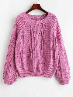 Cable Knit Chunky Sweater - Deep Pink
