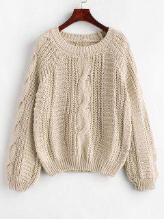 Cable Knit Chunky Sweater - Beige