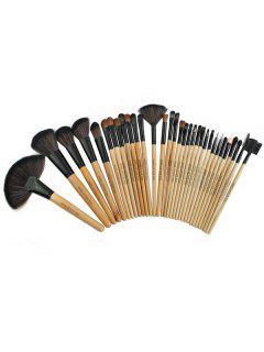 32 Pcs Ultra Soft Fiber Hair Makeup Brush Collection With Brush Bag - Camel Brown