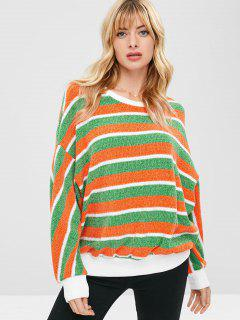 ZAFUL Contrast Striped Sparkly Christmas Sweater - Multi M