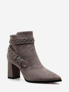 Studded Strap Pointed Toe Ankle Boots - Dark Khaki Eu 38