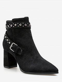 Studded Strap Pointed Toe Ankle Boots - Black Eu 37