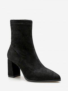 Pointed Toe Chunky Heel Suede Boots - Black Eu 37