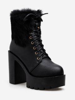 Lacing Platform High Heel Fuzzy Boots - Black Eu 39
