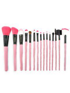 15 Pcs Pink Handles Ultra Soft Makeup Brush Set With Brush Bag - Pink