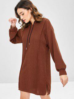 Side Slit Hooded Sweater Dress - Chestnut