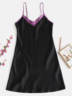 Vestido De Pijama De Bloque De Color Satinado - Negro Xl