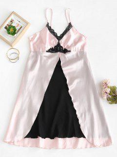 Lace Insert Front Slit Satin Lingerie Dress - Pink