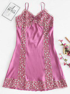Robe De Pyjama à Bretelle En Dentelle Insérée En Satin - Rouge Violet Pâle