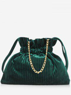 Corduroy Leather Bucket Shoulder Bag - Dark Green