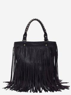 PU Leather Tassel Design Handbag - Black
