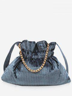Corduroy Leather Bucket Shoulder Bag - Light Slate Gray